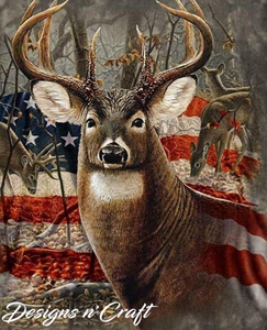 Deer & American Flag Full Square Diamond Painting