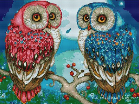 Twin Owl Full Square Diamond Painting