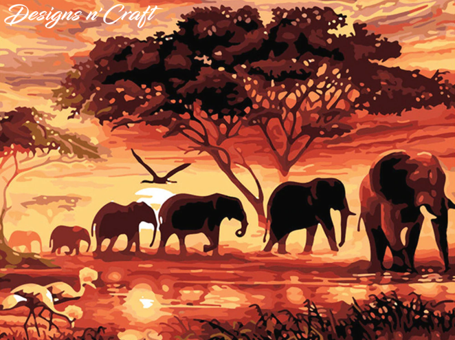 Elephant Scene Full Square Diamond Painting