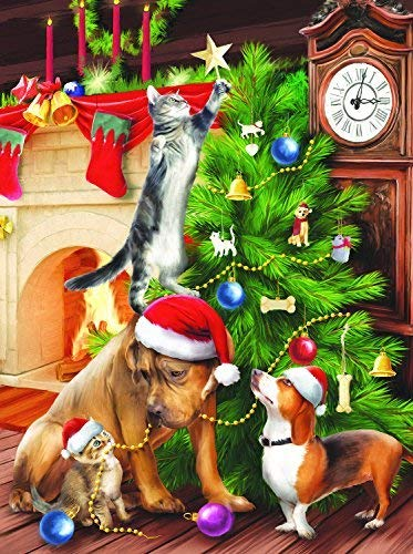Cat-Dog Christmas Tree Full Square Diamond Painting