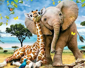 Elephant and Giraffe 5D Diamond Painting