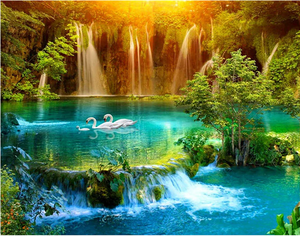 Waterfall, Lake, Swan Full Diamond Painting