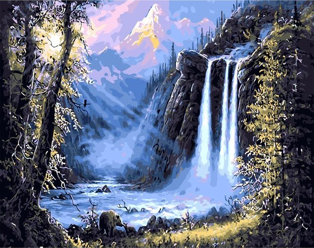Waterfall Landscape Full Square Diamond Painting
