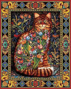 Cat Flowers Decor 5D Diamond Painting