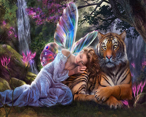 Fairy & Tiger 3D Diamond Painting