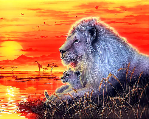 Sunset Lion 5D Diamond Painting