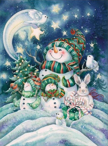 Winter Snowman 5D Full Diamond  Painting