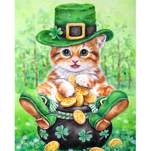 Berde Cat Diamond Painting