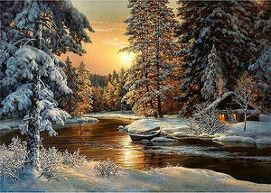 Beautiful Snow Scenic 5D Diamond Painting