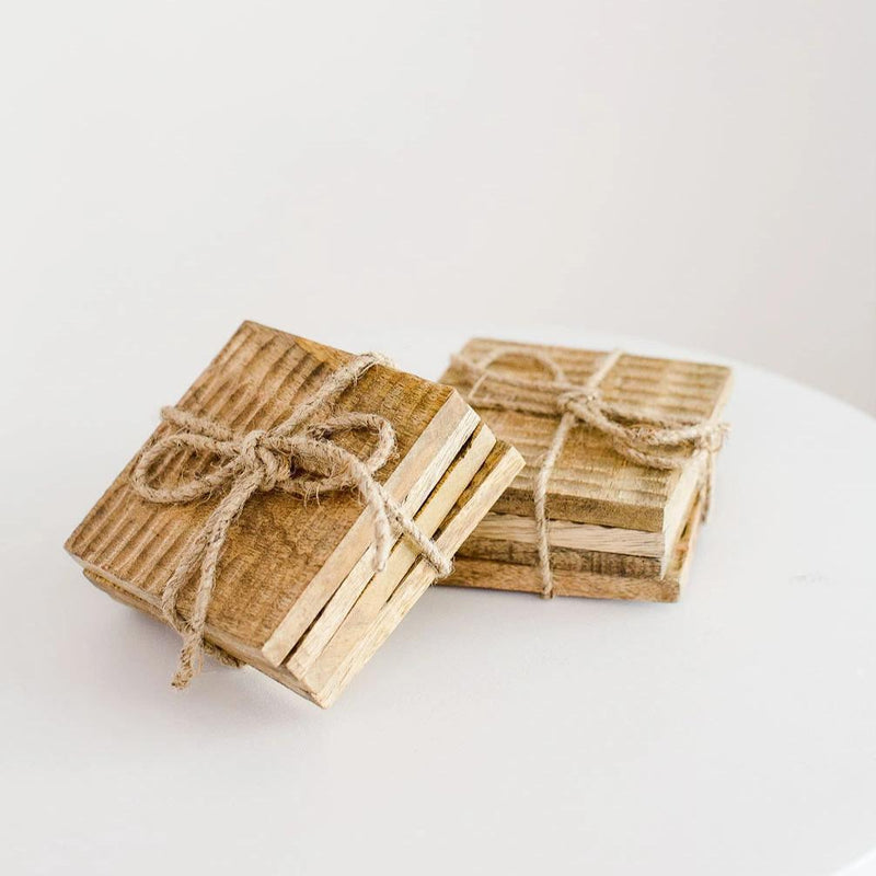 Mango Wood Coaster Set