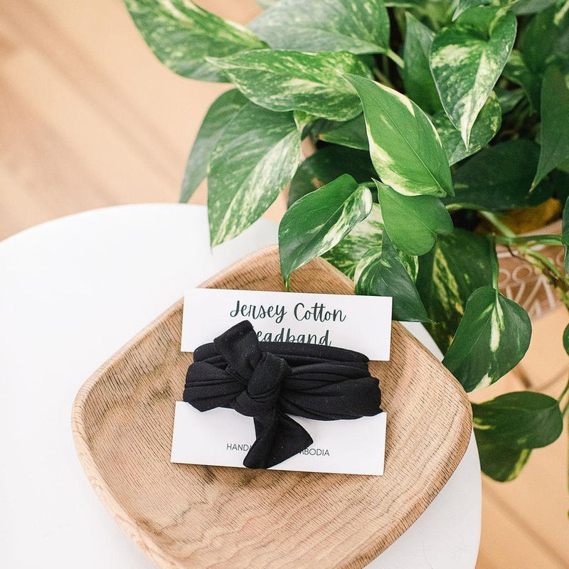 Jersey Cotton Headband - Black