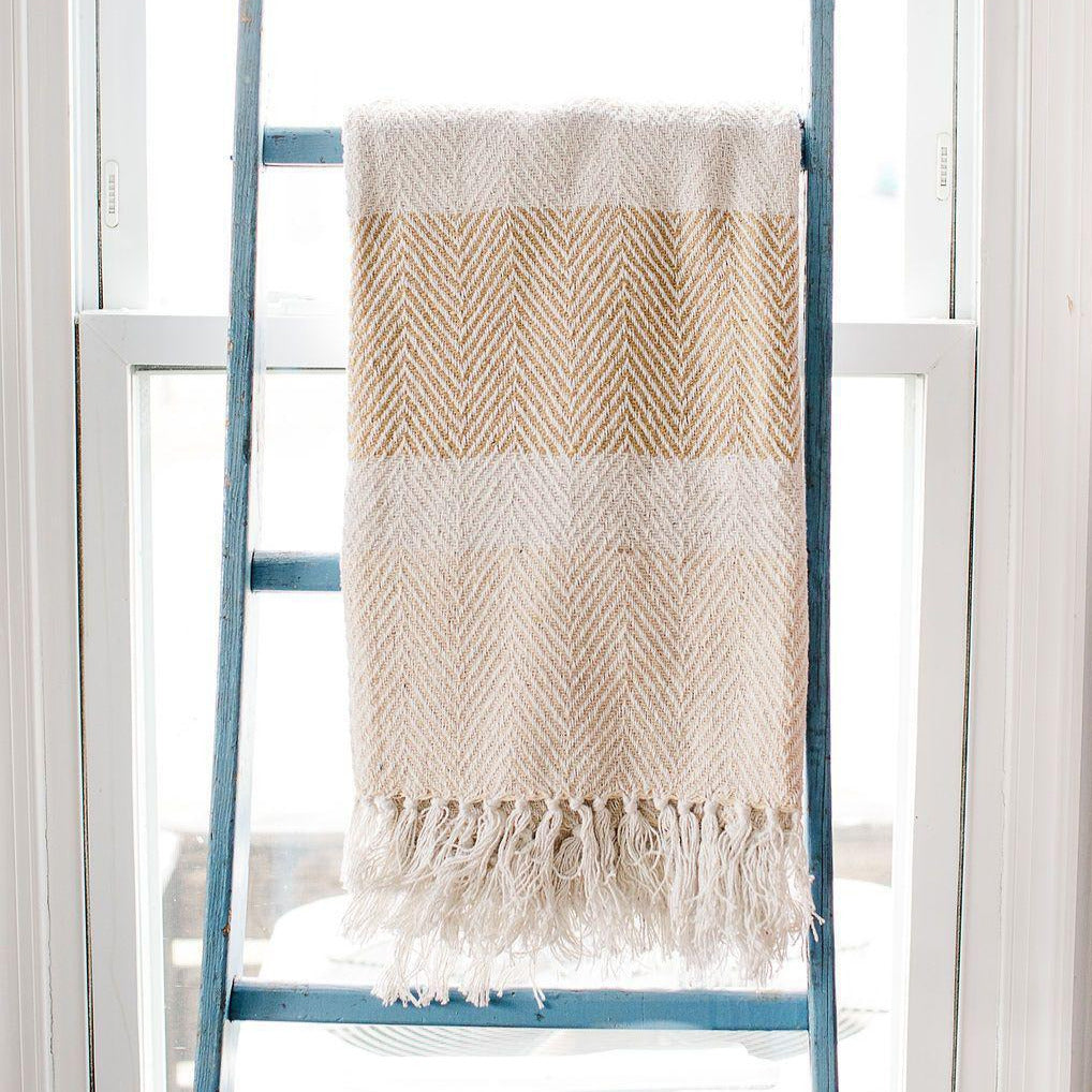 Natural Striped Rethread Throw