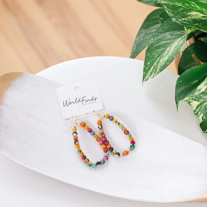 Kantha Oblong Hoops