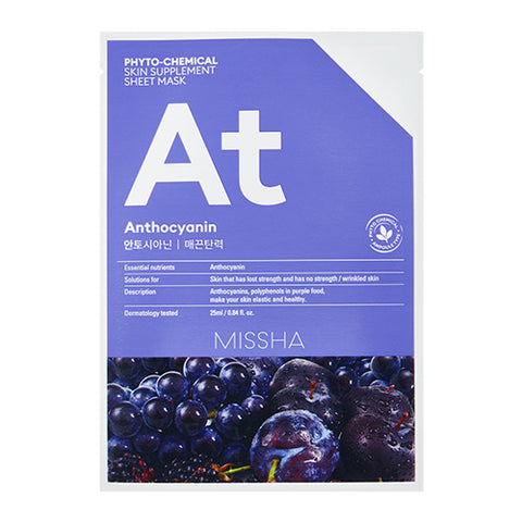 MISSHA Phyto-Chemical Skin Supplement Sheet Mask (Anthocyanin/ Lifting) (25ml)