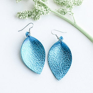 "Metallic Aqua / Leather Leaf Earrings / Medium / 2.5""x1.25"""