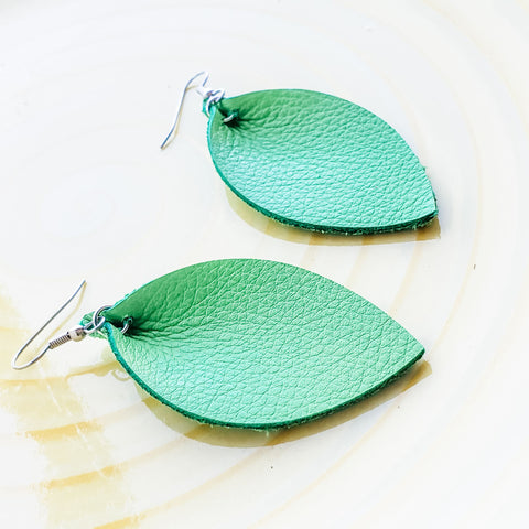 "Leafy Green / Leather Leaf Earrings / Medium / 2.5""x1.25"""