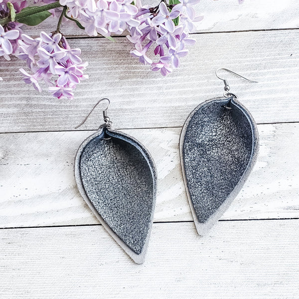 Layered Leather Earrings / Distressed Charcoal / Genuine Leather / 3 x 1.75""