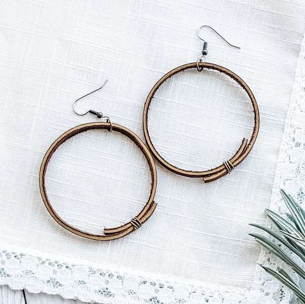 Brown Leather Hoop Earrings / Rustic Hoop Earrings / 2.25 x 2.25""
