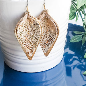 Golden Goddess / Genuine Leather Earrings / Layered Earrings / Petal / 3 x 1.75""