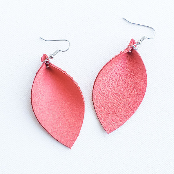 "Living Coral / Leather Leaf Earrings / Medium / 2.5""x1.25"""