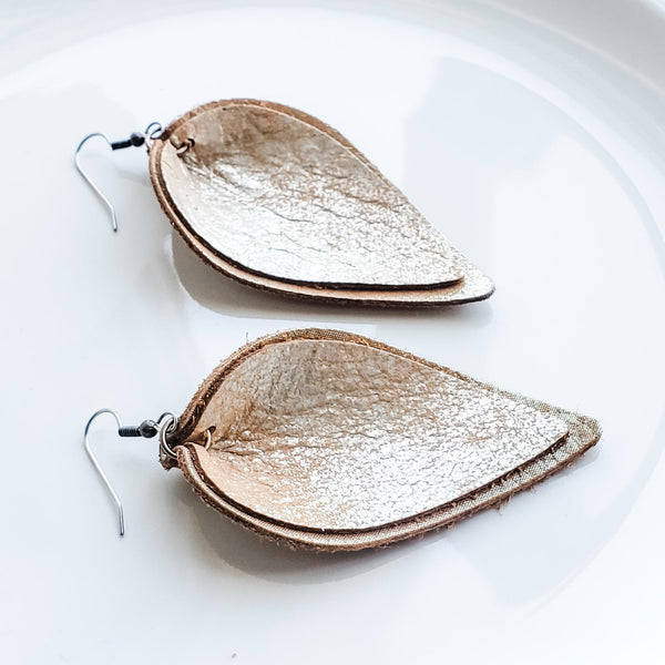Creme Brulee / Layered Leather Earrings / Petal / 3 x 1.75""