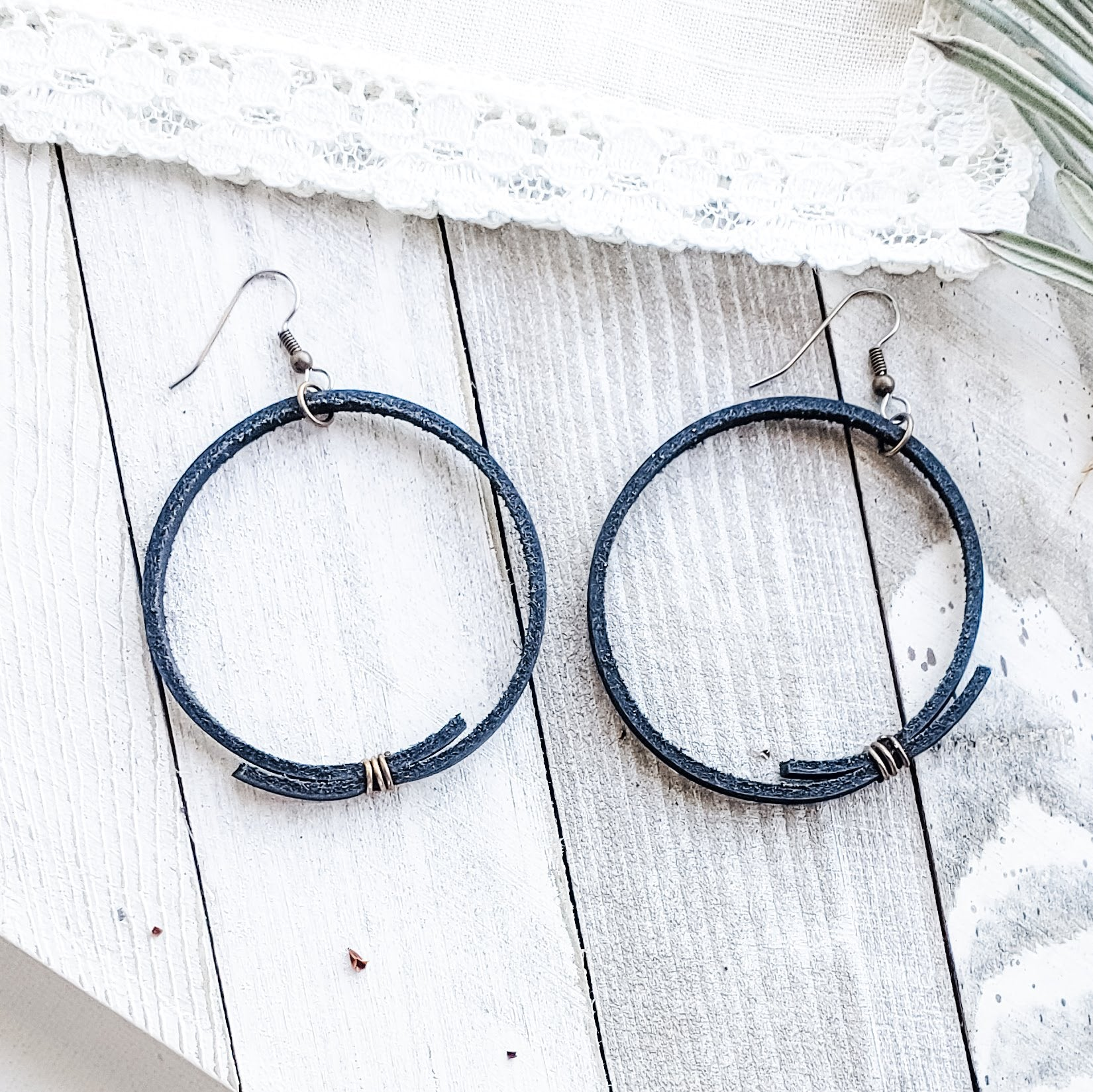 Black Leather Hoop Earrings / Rustic Hoop Earrings / Minimal / 2.25 x 2.25""