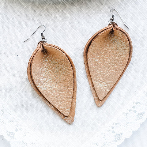 Caramel Latte Shimmer / Leather Petal Earrings / Layered / Large/ 3 x 1.75""