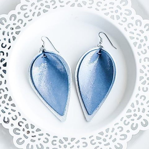 Ice Queen (Blue/Silver) / Layered Leather Petal Earrings / 3 x 1.75""