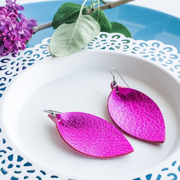 "Metallic Fuchsia / Leather Leaf Earrings / Medium / 2.5""x1.25"""