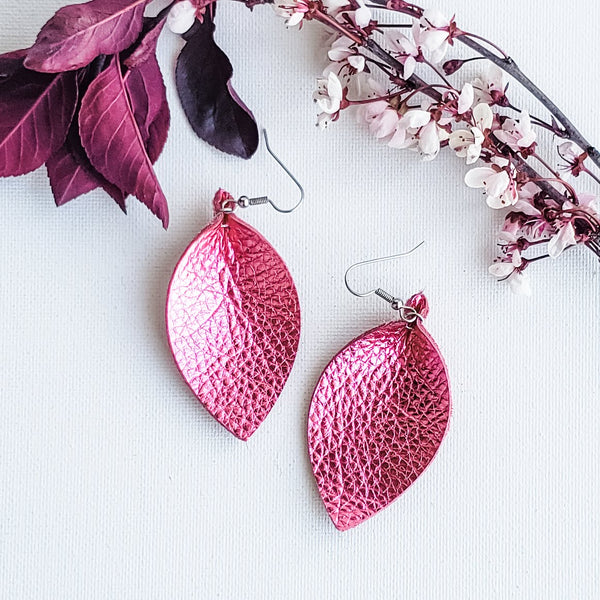 "Metallic Rose / Leather Leaf Earrings / Medium / 2.5""x1.25"""