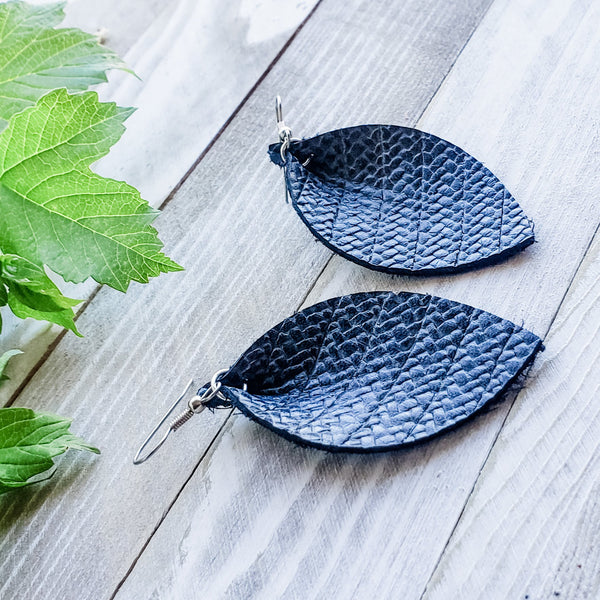 "Navy Basket Weave / Leather Leaf Earrings / Medium / 2.5""x1.25"""