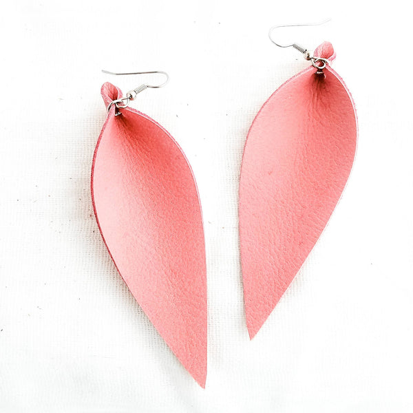 Genuine Leather Earrings / Pink Flamingo / Leather Leaf Earrings / Long / 3.5 x 1.25""
