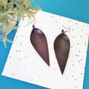 "Leather Leaf Earrings / Blackberry / Long / 3.5""x1.25"""