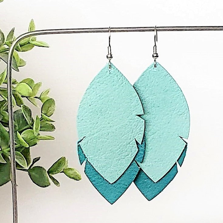 Leather Feather Leaf Earrings / Mint & Jaded Teal / Joanna Gaines / 3 x 1.25""