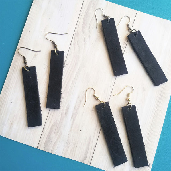 Black / Leather Earrings / Bar Style / Medium / FREE SHIPPING