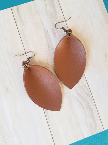 Brown / Leather Earrings / Leaf Style / Medium / FREE SHIPPING
