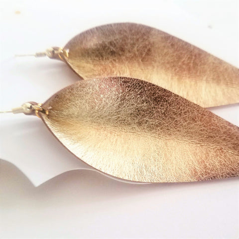 "Matte Gold / Leather Leaf Earrings / Long Leaf Earrings / 3.5""x1.25"""