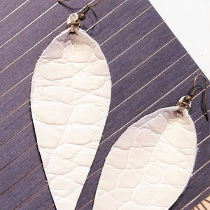 "Leather Leaf Earrings / Antique White / Long Earrings / 3.5""x1.25"""