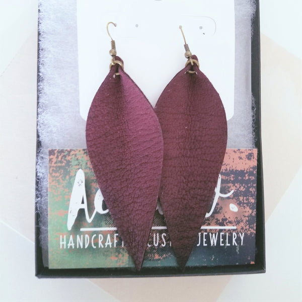 "Leather Leaf Earrings / Rustic Berry / Long Earrings / 3.5""x1.25"""