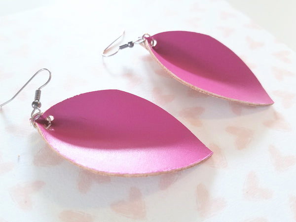 "Magenta / Leather Leaf Earrings / Medium / 2.5 x 1.25"" / Hypoallergenic / FREE SHIPPING"