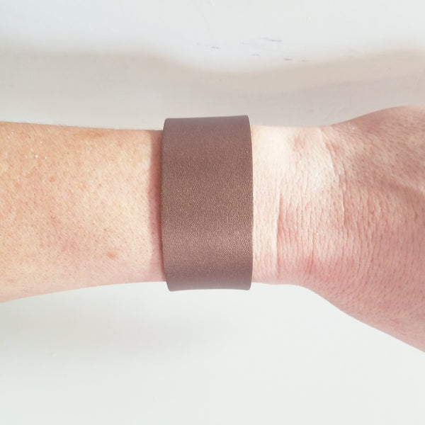 Bronze Metallic / Leather Cuff Bracelet / Adjustable / Snap Closure / FREE SHIPPING