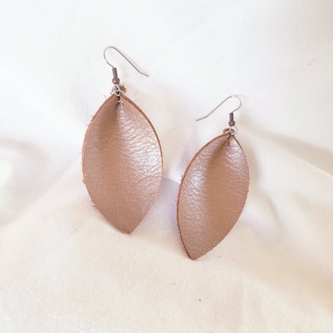 Brown Pearl / Leather Earrings / Leaf Style / Medium / FREE SHIPPING