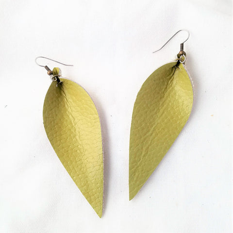 "Leather Leaf Earrings / Green Tea / Chartreuse / Yellow-Green / Long Feather Earrings / 3.25""x1.25"""