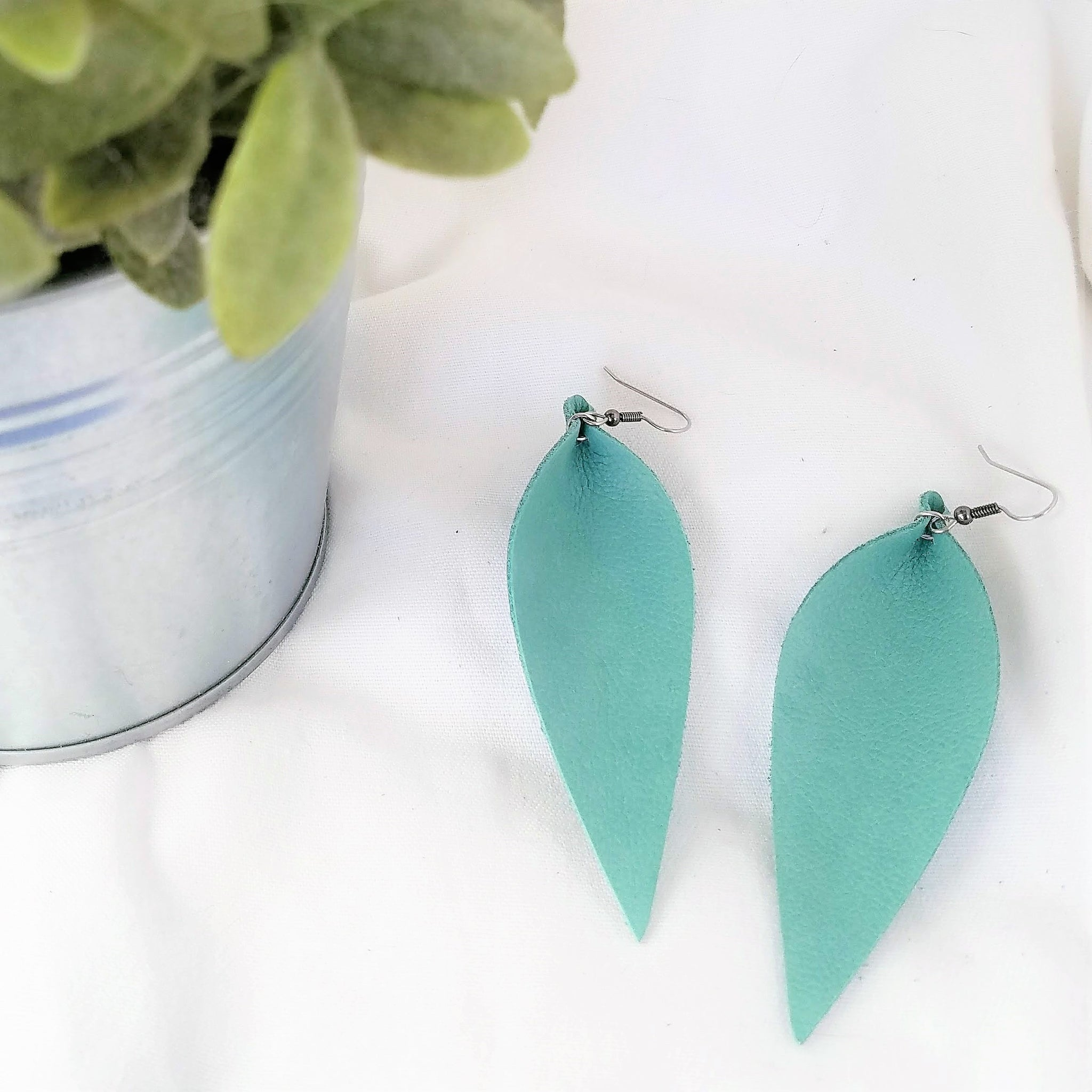 Mint Green / Leather Leaf Earrings / Long Feather Earrings / 3.5 x 1.25""