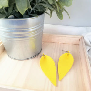 Leather Leaf Earrings / Daffodil Yellow / Long Feather Earrings / 3.25x1.25""