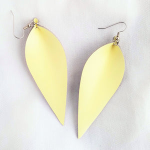 "Lemon Sorbet / Leather Leaf Earrings / Large / 3.5 x 1.25"" / Hypoallergenic / FREE SHIPPING"