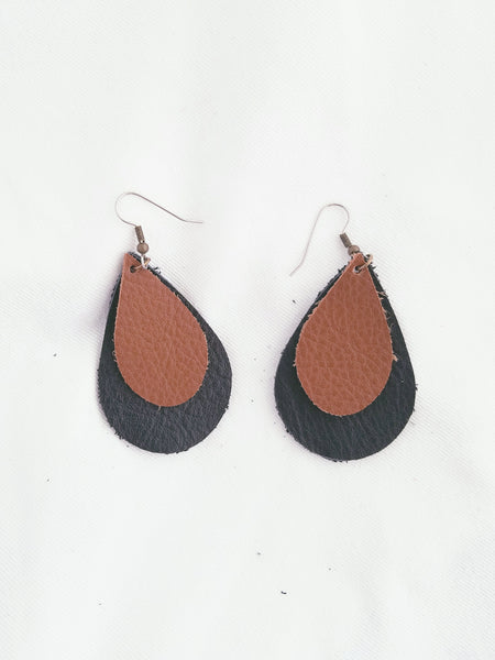 Brown & Black / Leather Earrings / FREE SHIPPING / Teardrop / Medium