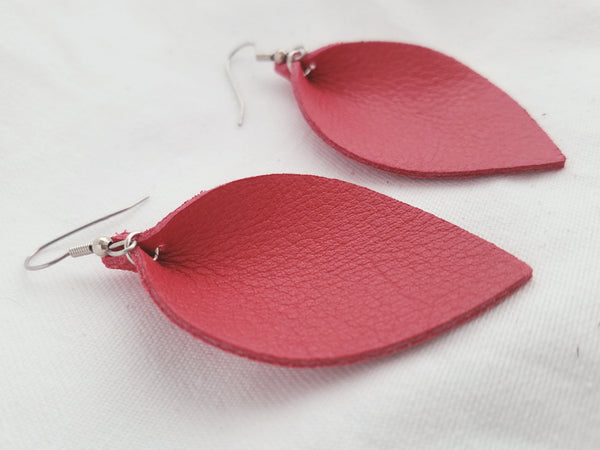 Cherry Tomato / Leather Earrings / Leaf Style / Medium / FREE SHIPPING