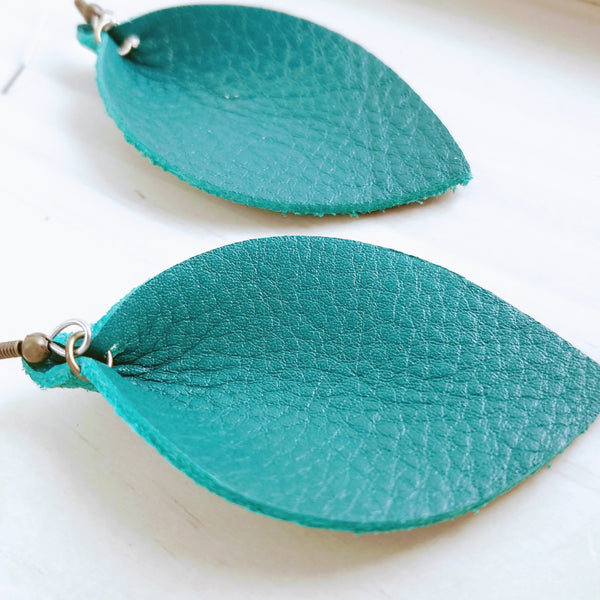 Jaded Teal / Genuine Leather Leaf Earrings / Medium / 2.5 x 1.25""