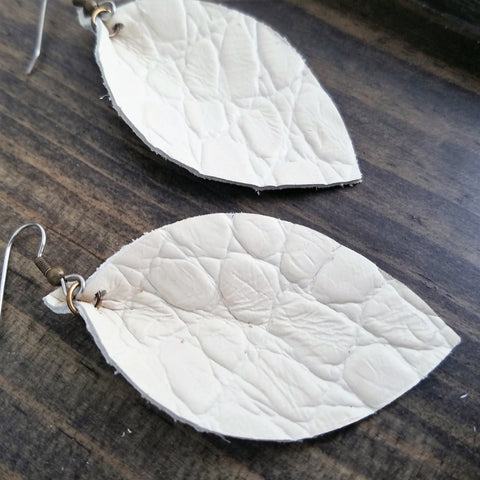 Antique White /  White Leather Earrings / Joanna Gaines / Leather Leaf Earrings / Medium